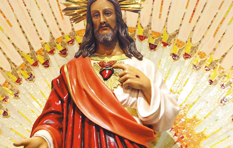 A jovem do Coração de Jesus.